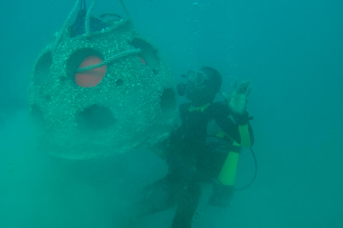 Divers moving a reef ball